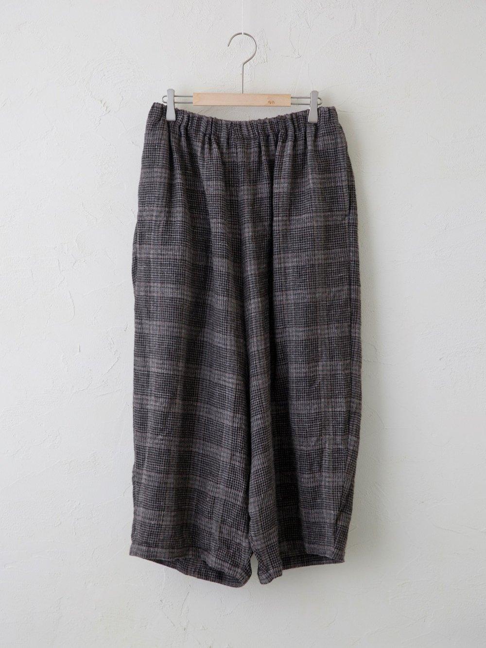 Wool Linen Check コクーンサルエル
