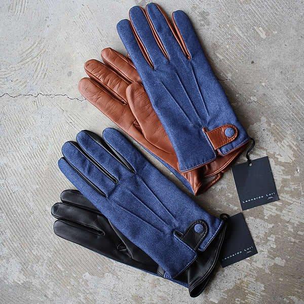 LEONARDO LORI / lamb nappa×denim cashemere lining glove