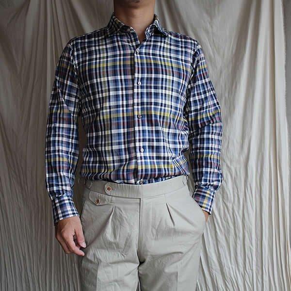 *受注生産*Atelier de vetements shirt / No.33  round color plaid shirt