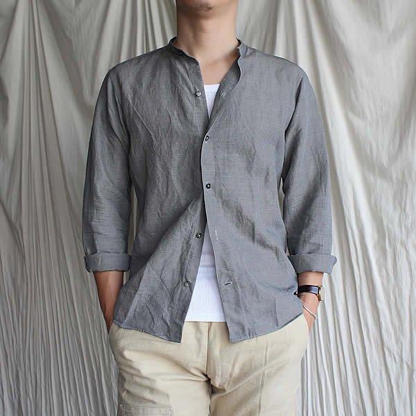 *受注生産*Atelier de vetements shirt / No.27  Italian linen band collar shirts