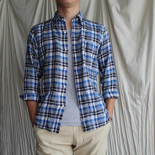 *受注生産*Atelier de vetements shirt / No.28  linen button-down plaid shirts