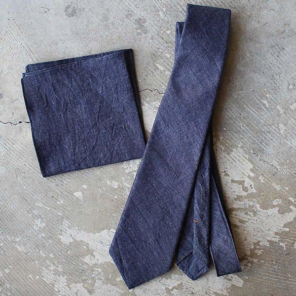 Atelier de vêtements / denim tie / denim pocket handkerchief