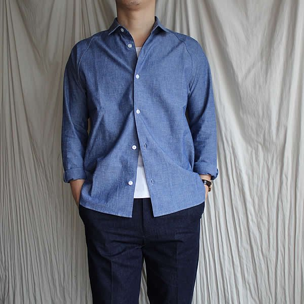 tilt the authentics×Atelier de vetements / Yoke Raglan Shirts -Indigo Rope Deying-