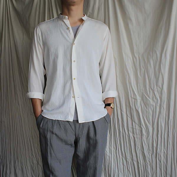 *受注生産*Atelier de vetements shirt / No.37 silk×linen band collar shirts