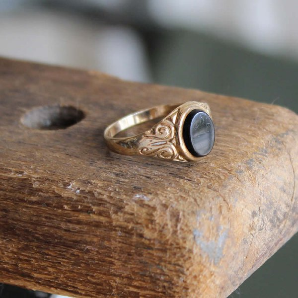 50s vintage black onyx gold signet ring size12