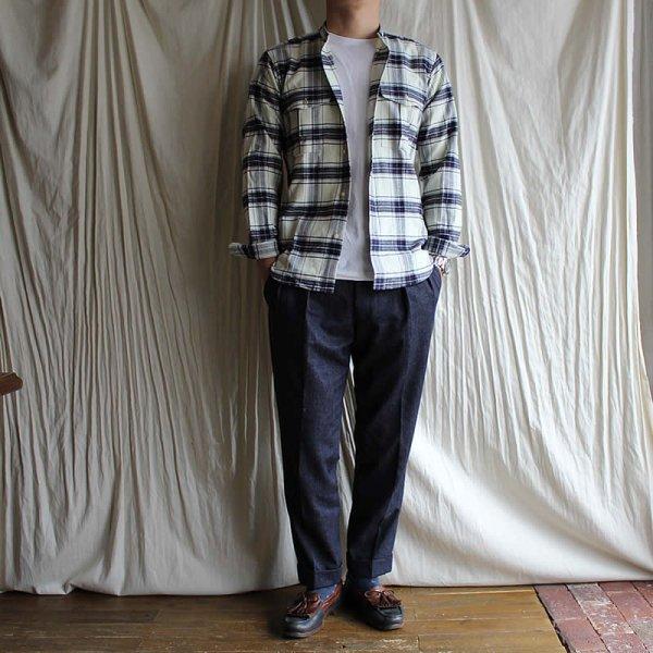 *受注生産*Atelier de vetements shirt / No.40  cotton flannel band collar safari shirts
