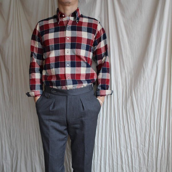 *受注生産*Atelier de vetements shirt / No.42  block check button-down shirts (播州織)