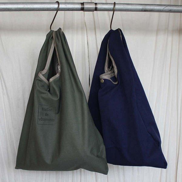Atelier de vetements / 贅沢なコンビニ袋 (・硫化染め、コットンバックサテン・ヴィンテージチノ)