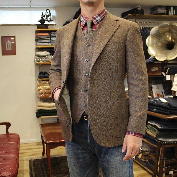Atelier de vetements / jacket -herringbone tweed- (dead stock cloth)