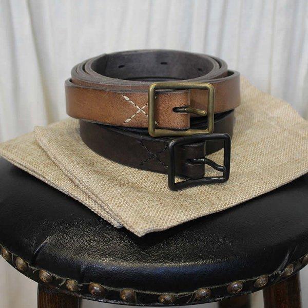 COLINA de passaros / handmade leather longbelt 25mm幅