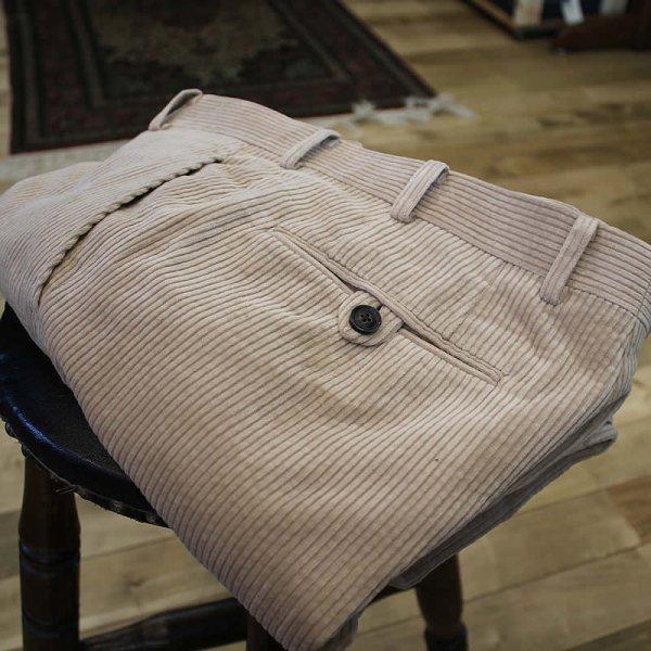 Atelier de vetements / corduroy trousers -dead stock cloth,ivory-