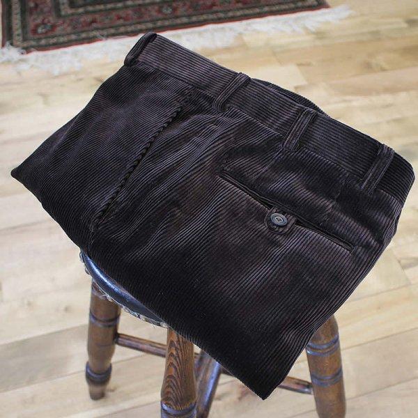 Atelier de vetements / corduroy trousers -dead stock cloth,D/Brown-