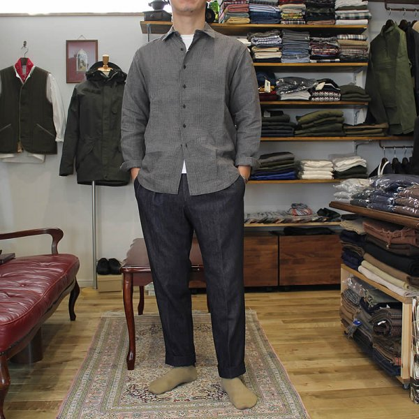 COLINA de passaros / linen labyrinth check minimal shirts