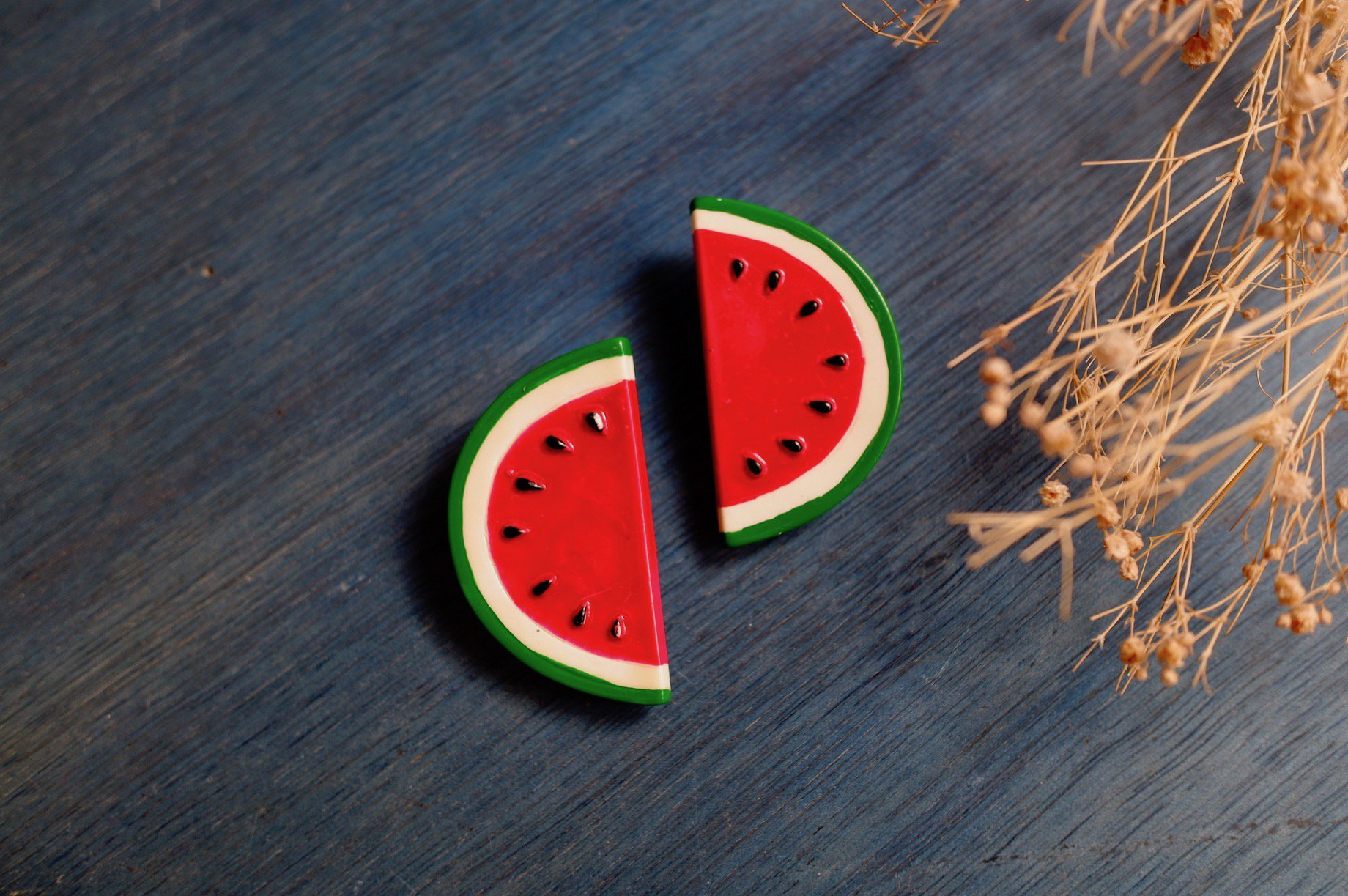vintage/watermelon split earring