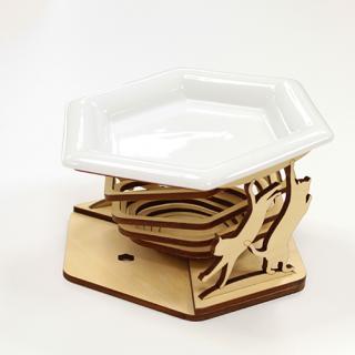 猫様用お食事台(六角陶器皿)