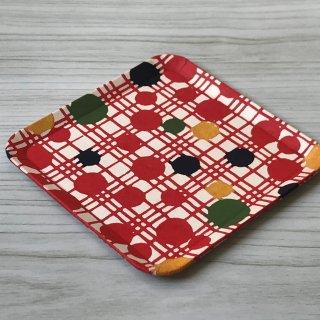 型染紙の角皿(水玉格子 赤)