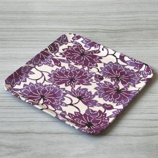型染紙の角皿(花唐草 紫)