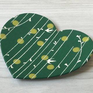 型染紙のハートトレイ(やなぎ縞 緑)