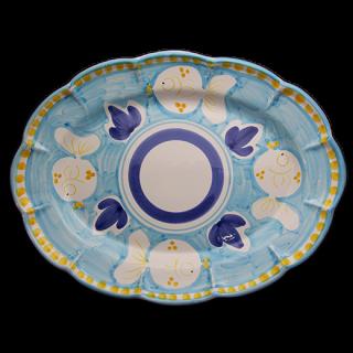 Ovale 38cm -魚A-(水色)