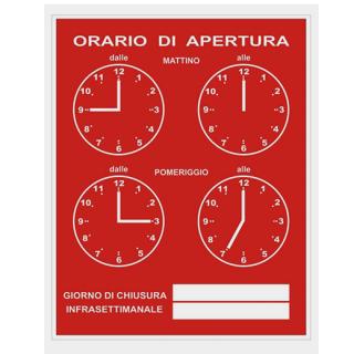 ORARIO di APERTURA (営業時間案内)レッド