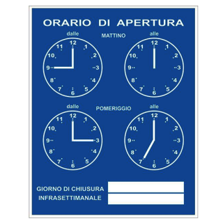 ORARIO di APERTURA (営業時間案内)ブルー