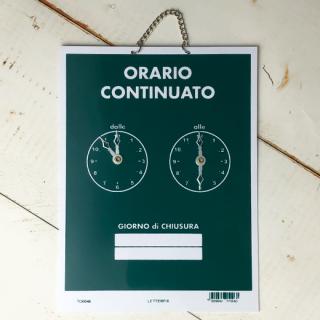 ORARIO CONTINUATO (営業時間案内)グリーン