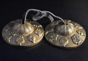 ティンシャ【八吉祥文様】/ゴールドブロンズカラー/チベット密教法具