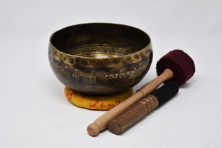 手打ちシンギングボウル【Φ:18.2cm/マントラ/ロータス】/ネパール雑貨/チベット密教法具