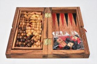 チェス&バックギャモン・Mサイズ【木製ゲーム】/Chess/Backgammon/折り畳み式/タイ雑貨
