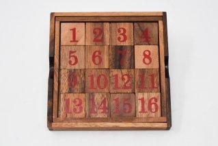15パズル【木製パズル】/34ゲーム/魔法陣/木製ゲーム/タイ雑貨/SlidingPuzzle