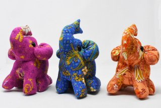 ゾウぬいぐるみ・Lサイズ【紫・青・薄橙】/ドール/Stuffed_Elephant/タイ雑貨