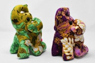 ゾウぬいぐるみ・Lサイズ【緑・濃紫】/ドール/Stuffed_Elephant/タイ雑貨