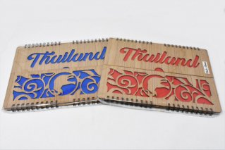 木製フォトアルバム【L判・80枚】リングノート型/タイ雑貨/photobook/Thailand