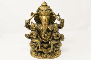 ガネーシャ神・シヴァ神・パールヴァティー神像【真鍮製】/仏像・神像/家族像/ヒンドゥー教/インド神話