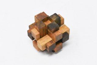 3Dスクエアキューブ・S【木製パズル】/2Sizes/木製ゲーム/タイ雑貨/3D_Square_Cube