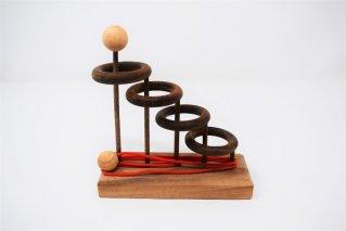 4つの輪っか【木製パズル】/木製ゲーム/知恵の輪/タイ雑貨/4Rings