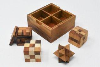 木製ゲーム4個セット【木製パズル】/木製ゲーム/タイ雑貨/woodengame_set4