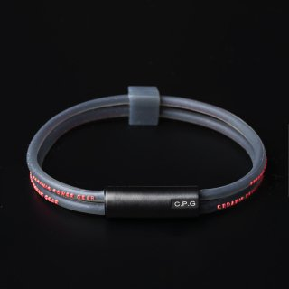 STAINLESS TWIN BRACELET(Clear Black × Red)