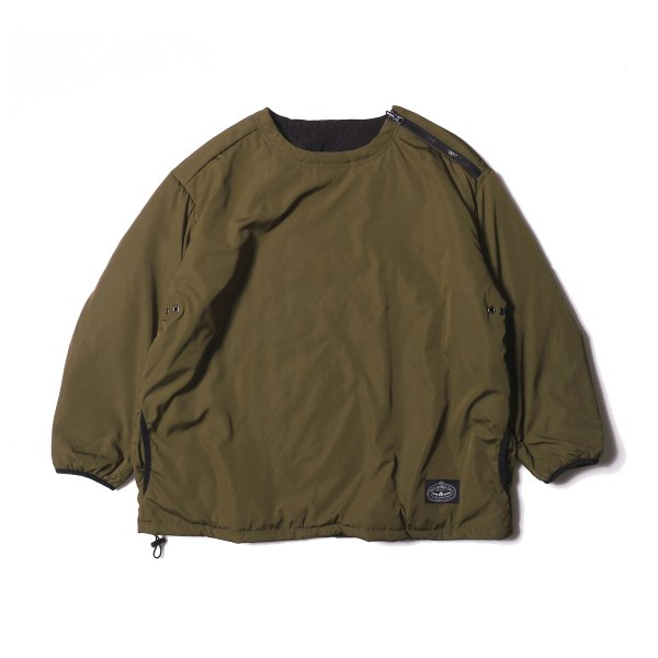 REVERSIBLE NYLON CREW NECK - OLIVE/BLACK