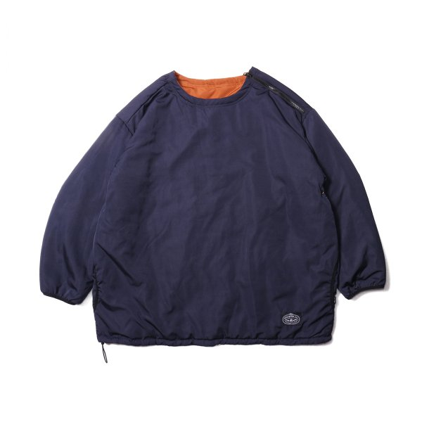 REVERSIBLE NYLON CREW NECK - NAVY/CARAMEL