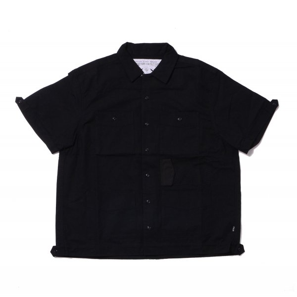 <img class='new_mark_img1' src='https://img.shop-pro.jp/img/new/icons16.gif' style='border:none;display:inline;margin:0px;padding:0px;width:auto;' />COTTON RIP KEROUAC OPEN COLLAR SHIRT - BLACK