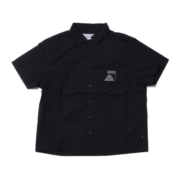 COTTON RIP MESH POCKET OPEN COLLAR SHIRT - BLACK