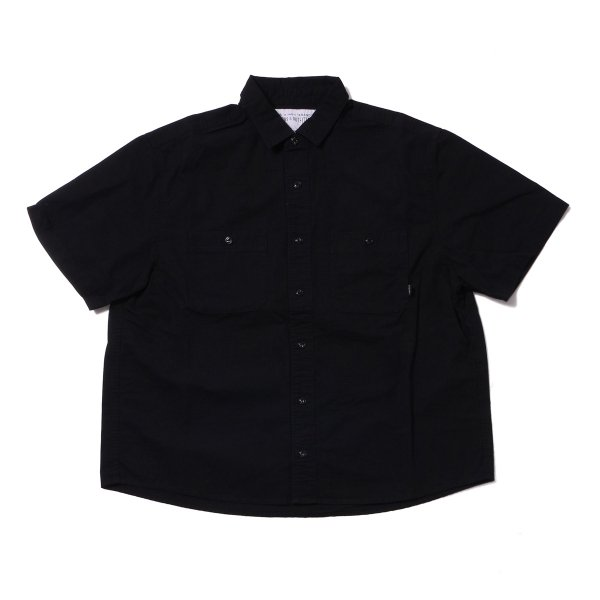 WASHED S/S BUTTON DOWN SHIRT - BLACK
