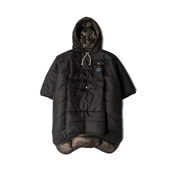 REVERSIBLE CAMP PONCHO - BLACK/OLIVE FURRY CAMO