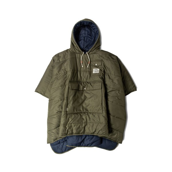 REVERSIBLE CAMP PONCHO - NAVY/OLIVE