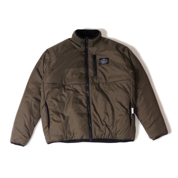 REVERSIBLE NYLON PUFF JACKET - OLIVE/BLACK SHEEP