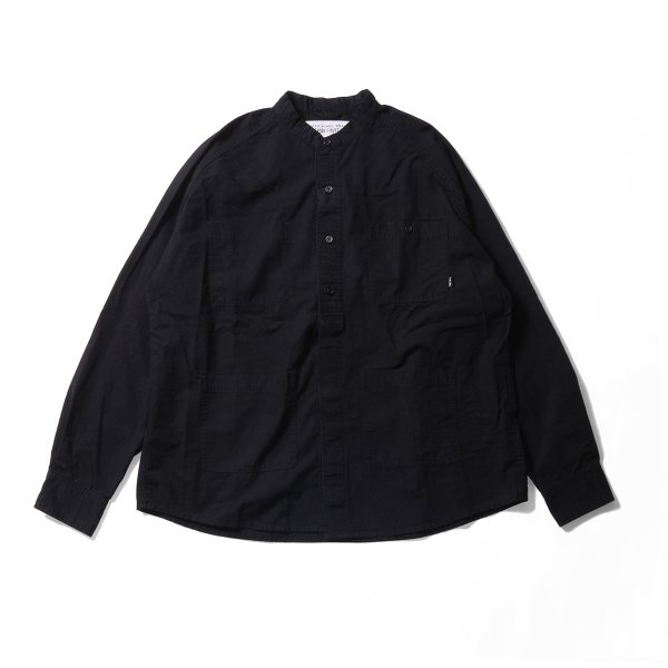 COTTON RIP RAGLAN SHIRT JACKET - BLACK