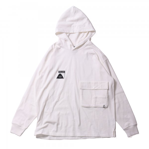 SUMMT HEAVY WEIGHT DOUBLE POCKET L/S TEE HOODIE - WHITE