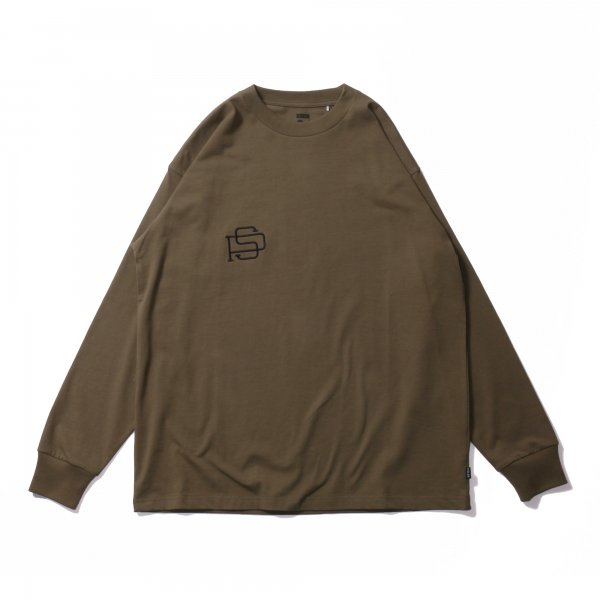 PS EMB HEAVY WEIGHT L/S TEE - OLIVE
