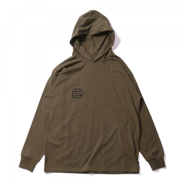 PS EMB HEAVY WEIGHT L/S TEE HOODIE - OLIVE